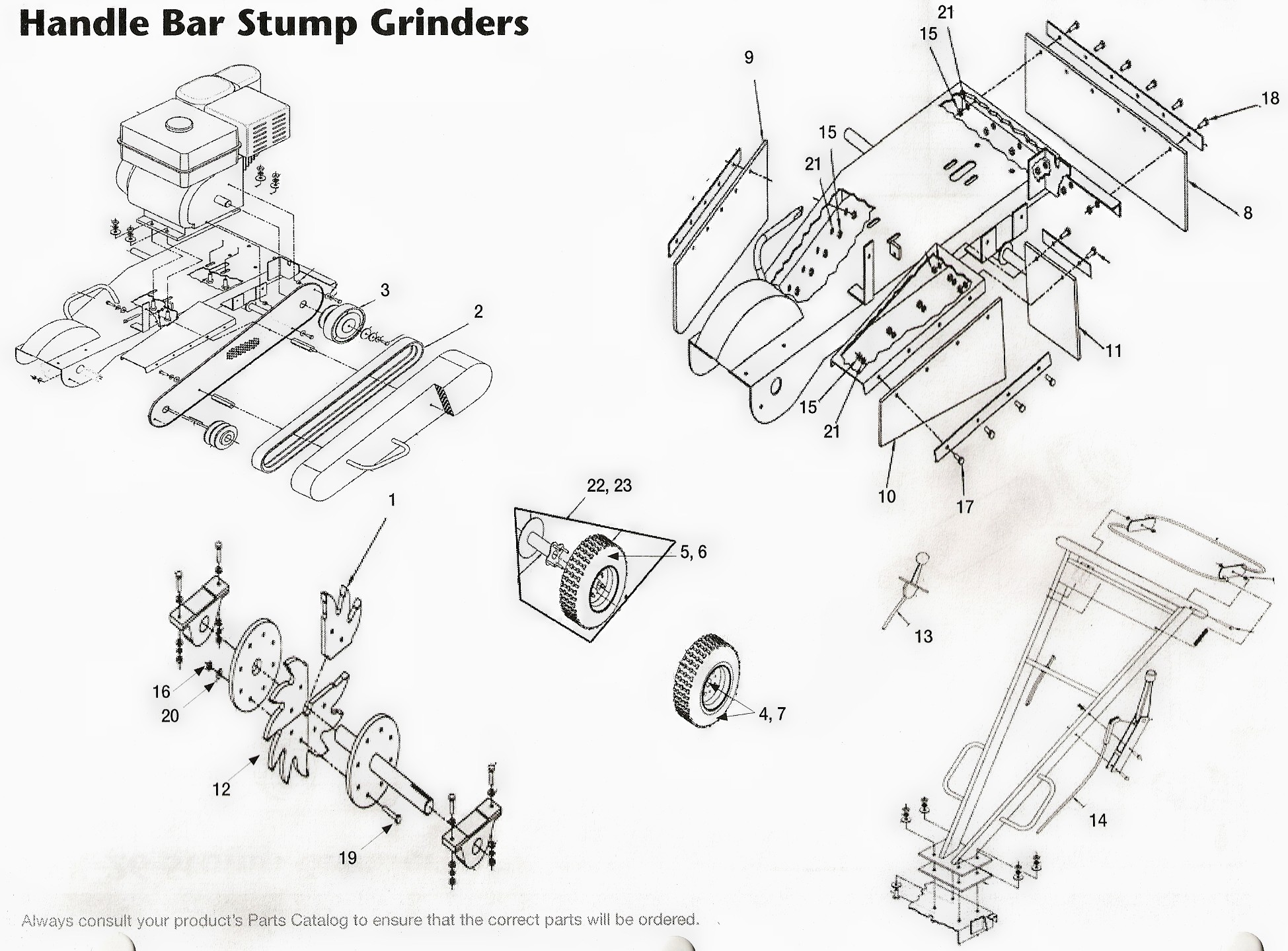 US Praxis Stump Grinder and Toro Handle Bar Stump Grinder Parts Diagram